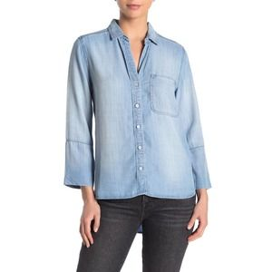 Cloth & Stone Hi/ Lo Tencel Button down Shirt in Charcoal Grey/Large